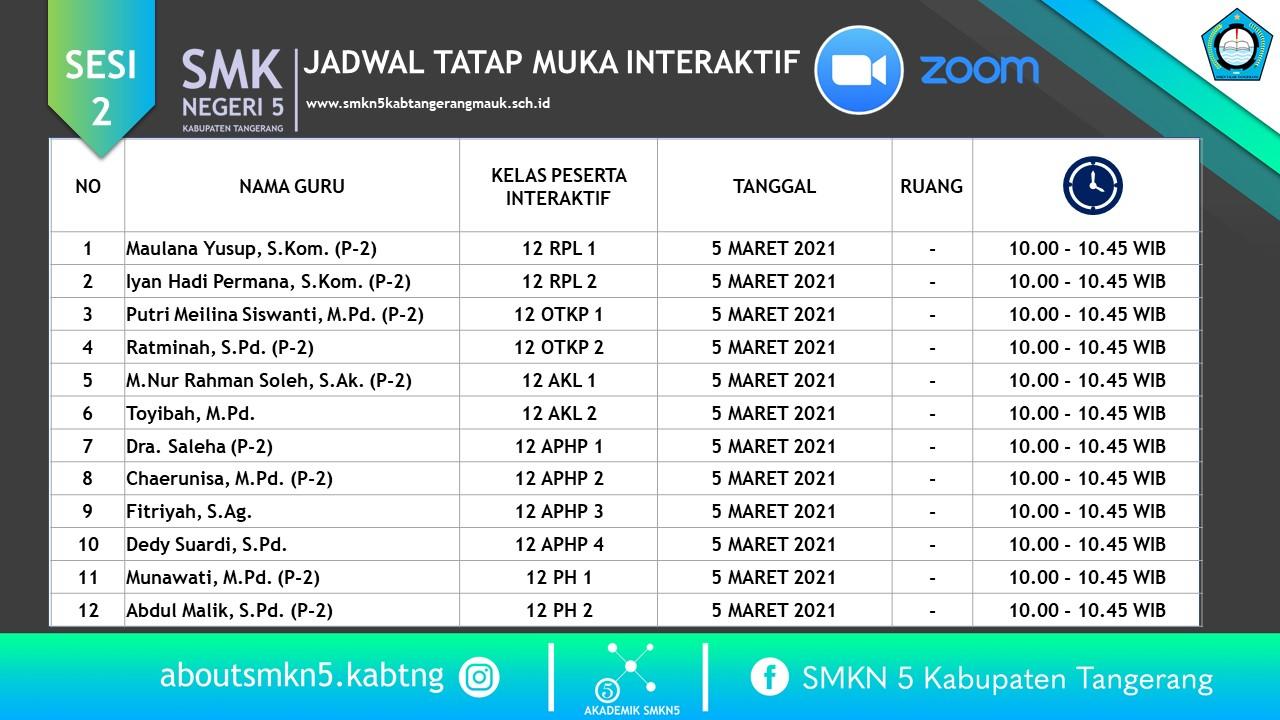 Jadwal Harian Tatap Muka Interaktif Zoom Semester Genap ...